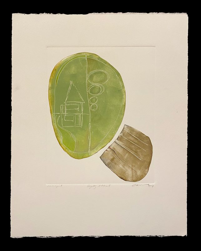 lithograph print by julie cowan, Safety at Home II
