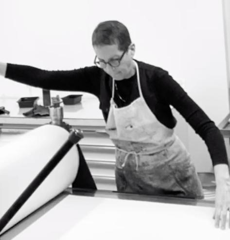 julie cowan printing a lithograph
