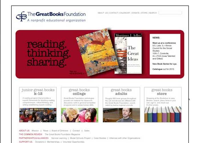 Greatbooks Foundation website design