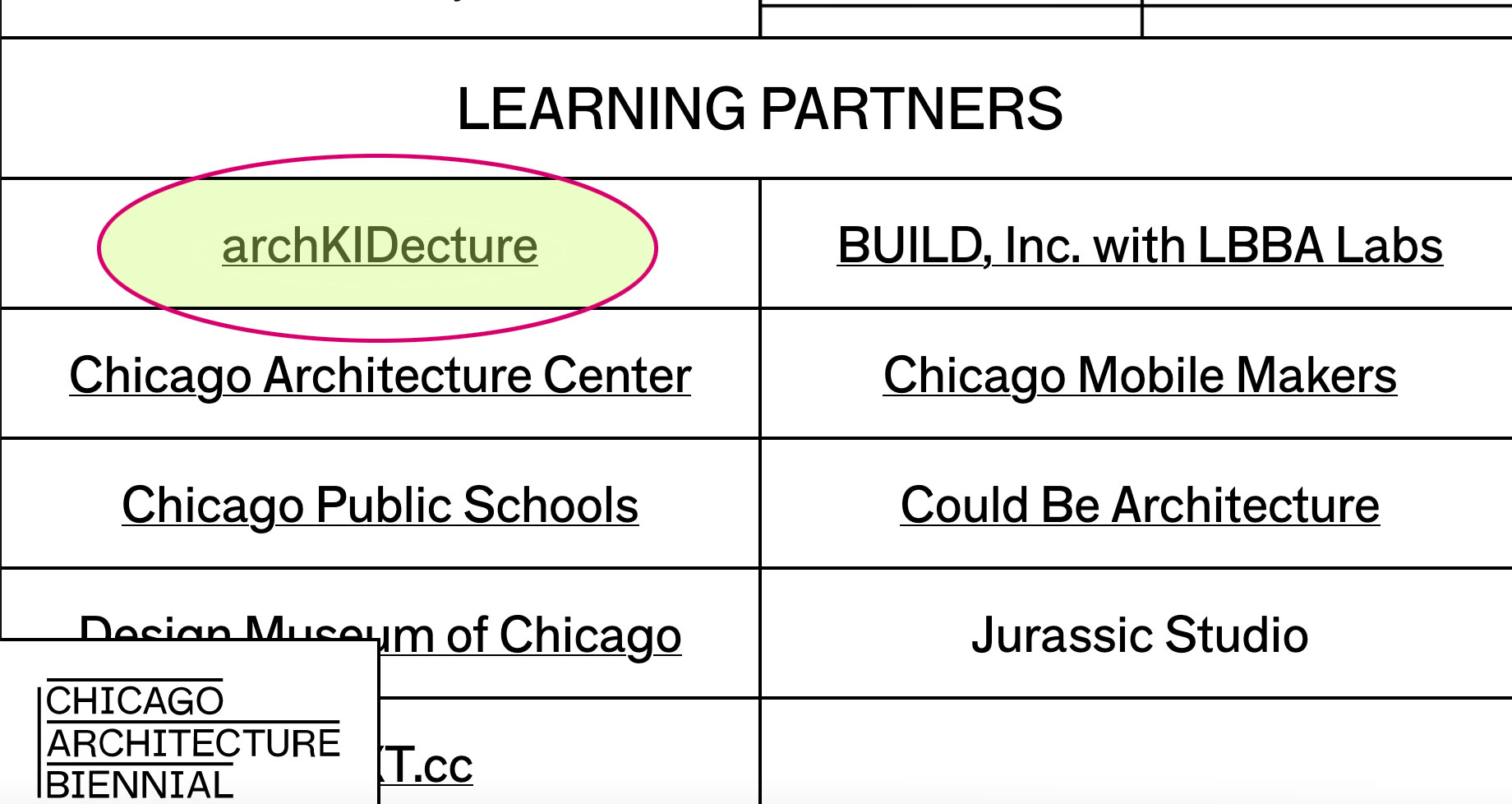 Chicago Architecture Biennial learning partner for archKIDecture