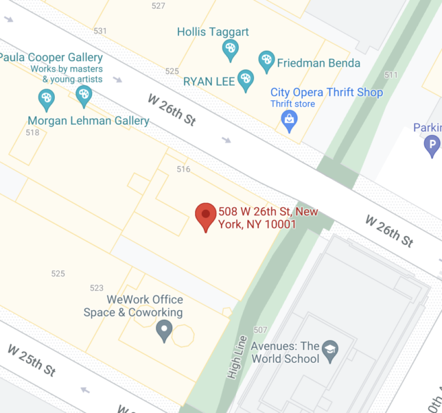 map of location of the IPCNY gallery in new york city.