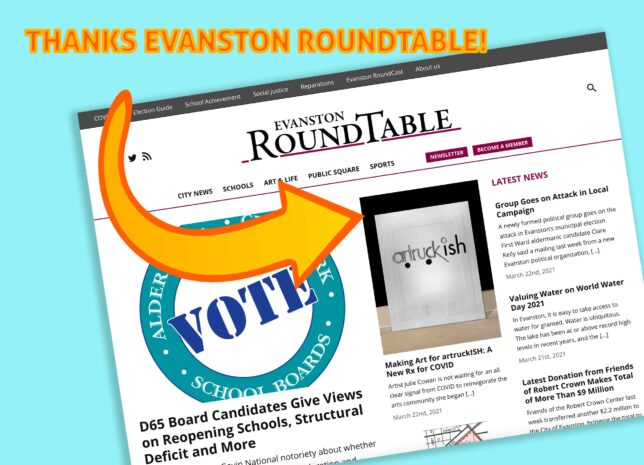 Evanston RoundTable homepage image with a focus on the artruckish article