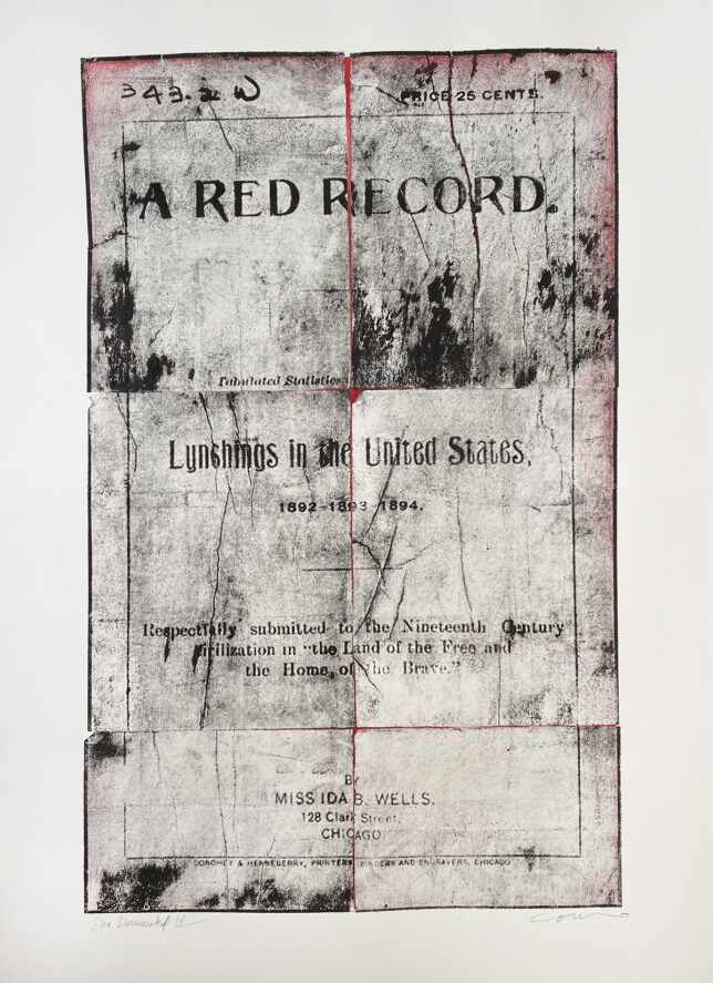 """She Documented It, a lithograph based on the cover of """"A Red Record"""" by Ida B. Wells."""