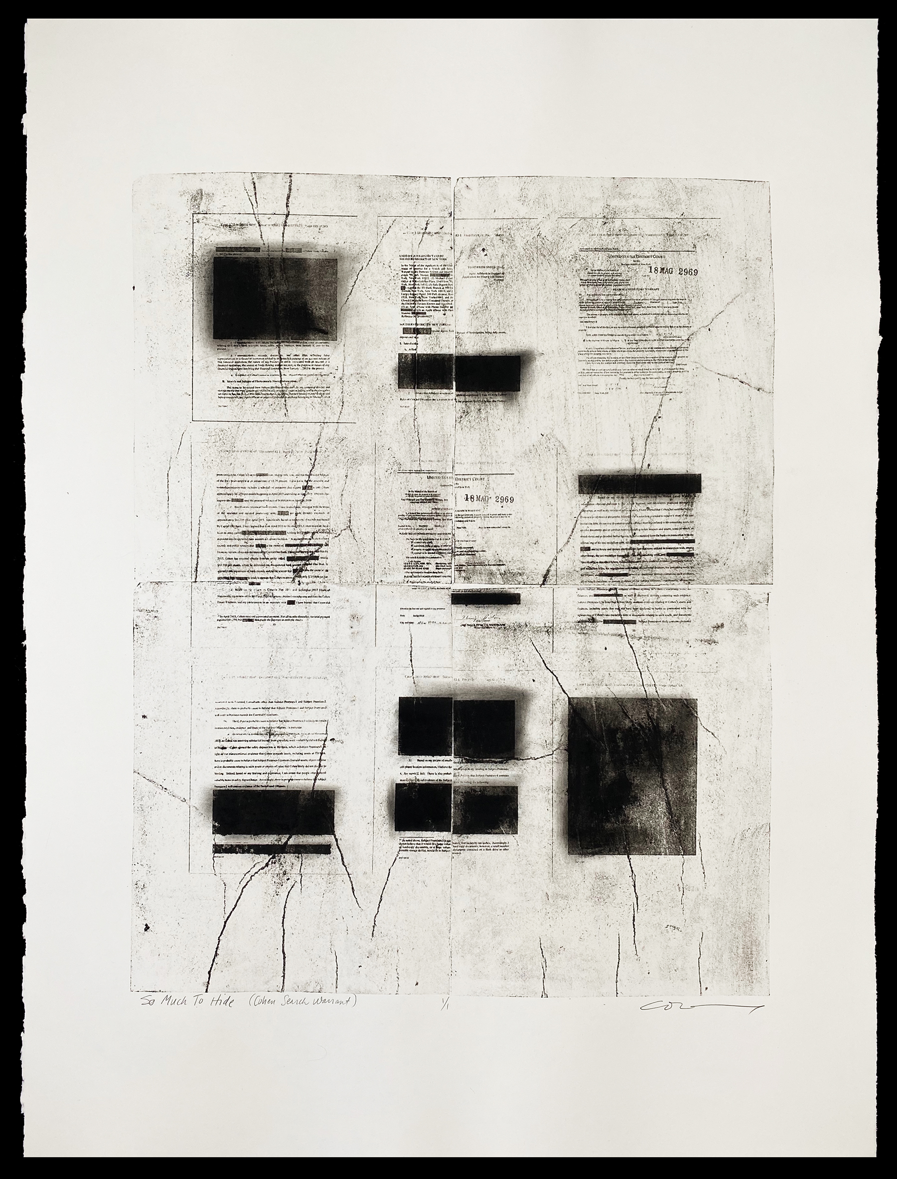 So Much to Say, the Cohen Search Warrant, a lithograph by julie cowan