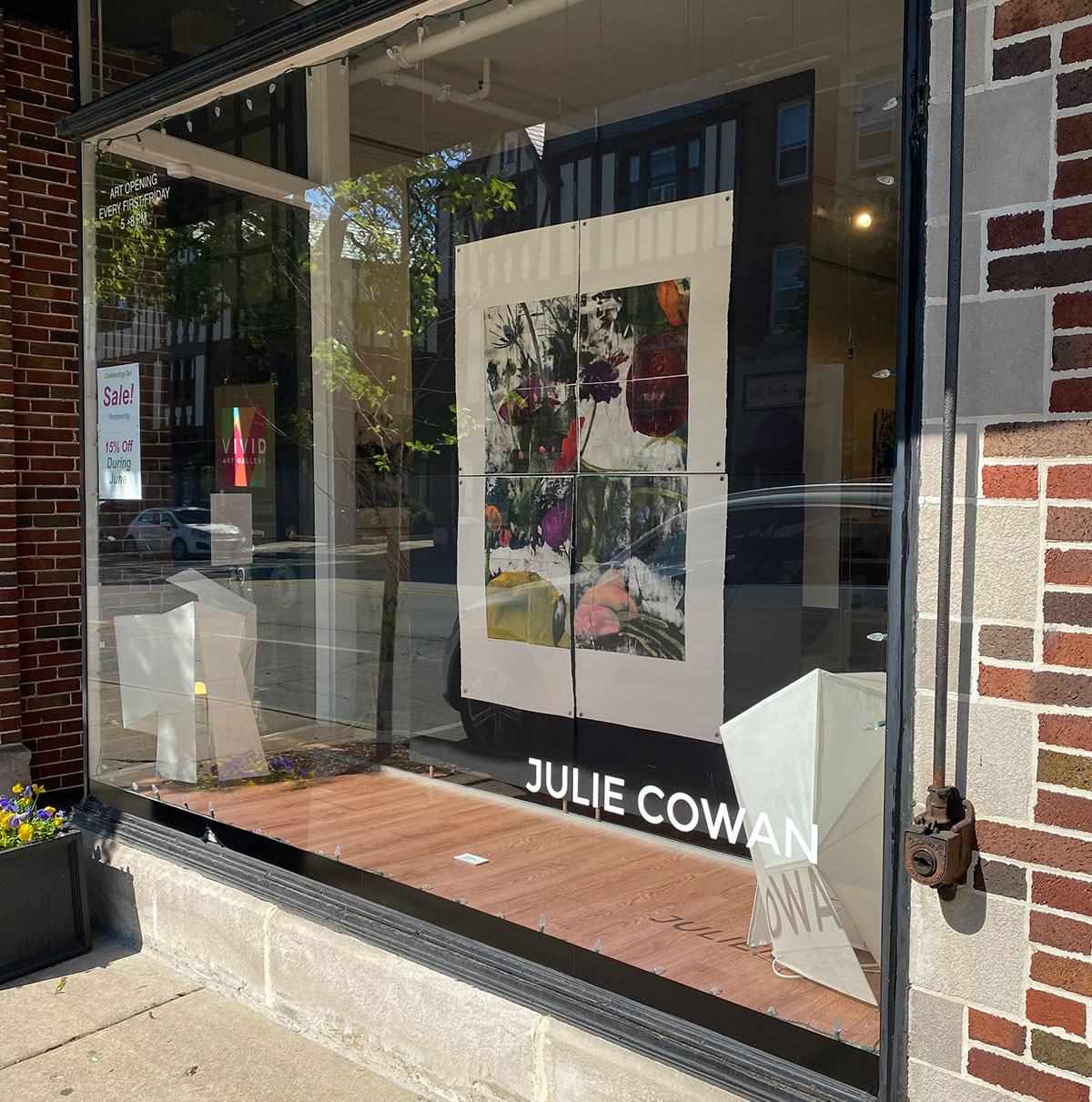 window at vivid gallery in winnetka with artwork by julie cowan